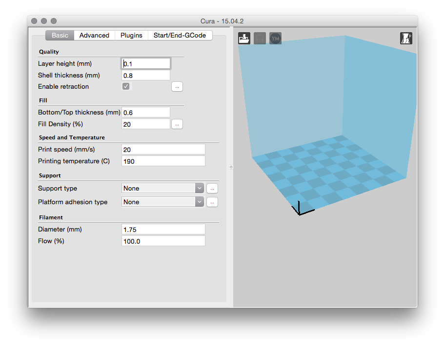 Setting up Cura and OctoPrint for the Mini Fabrikator (Tiny Boy