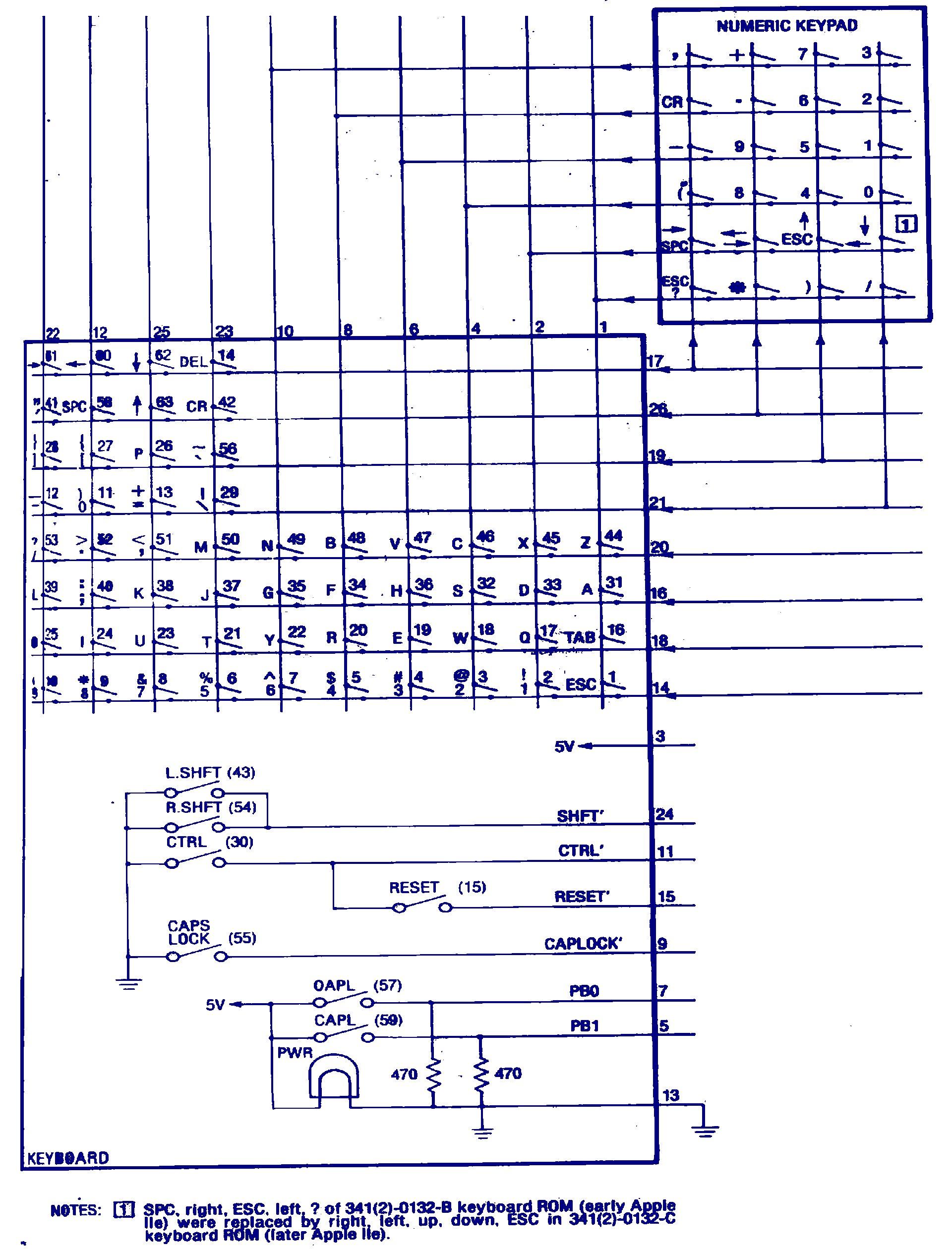 Apple IIe keyboard schematic