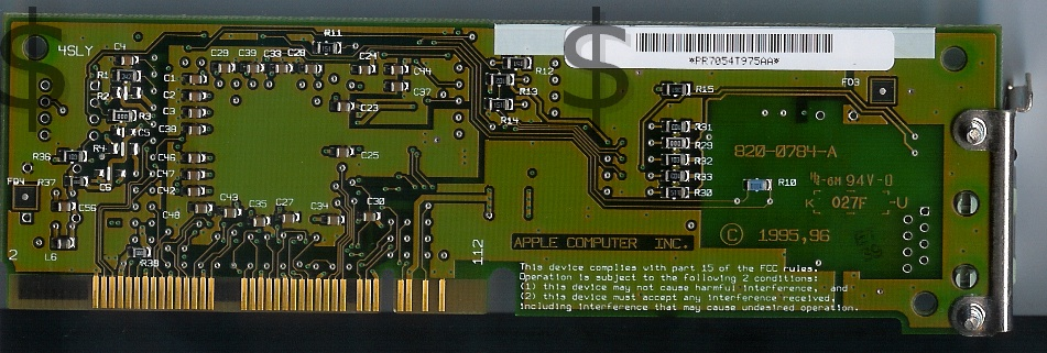 Apple Ethernet CS II Twisted-Pair card Back