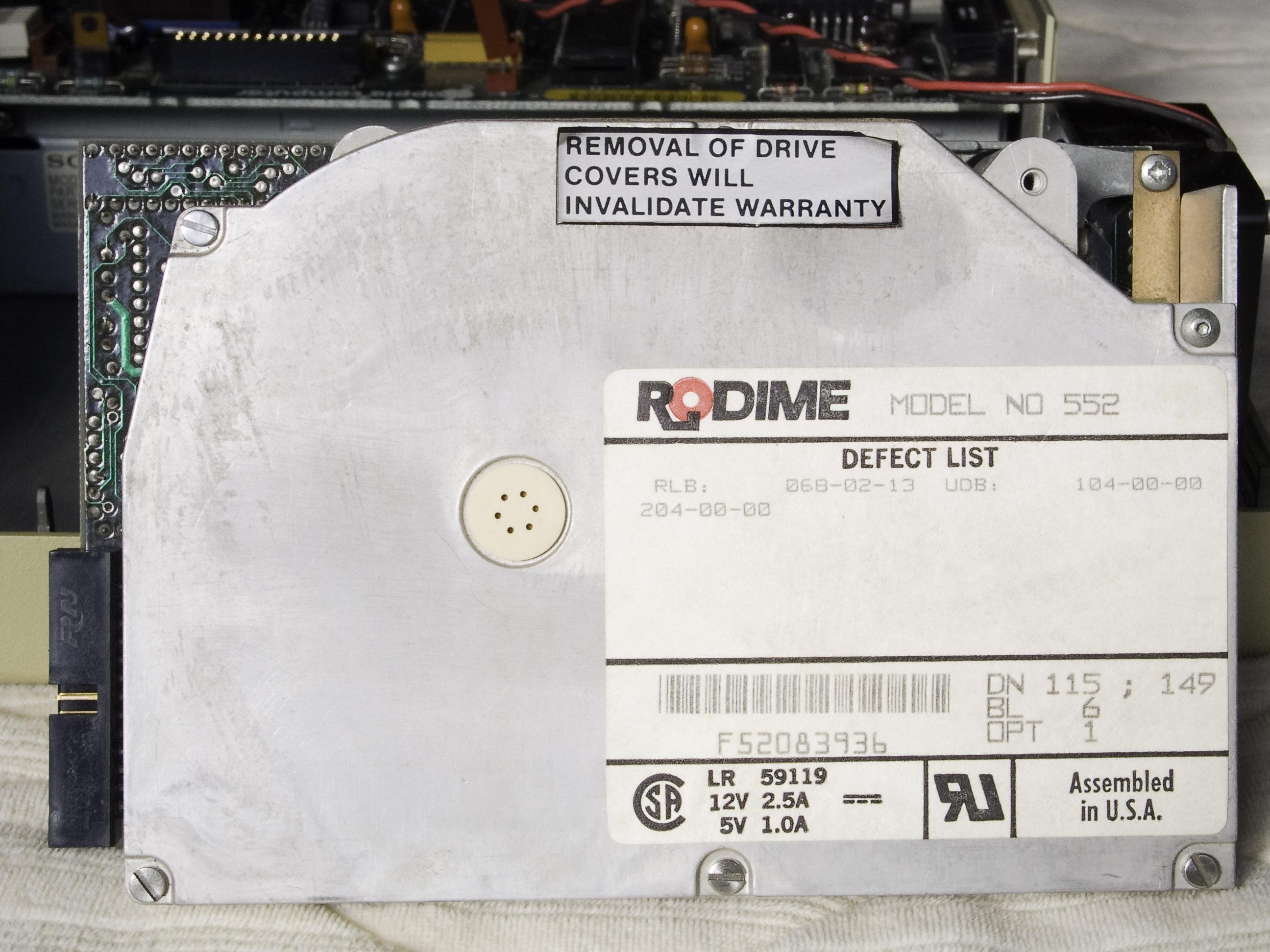 HD20 Rodime Hard Drive -- Top View