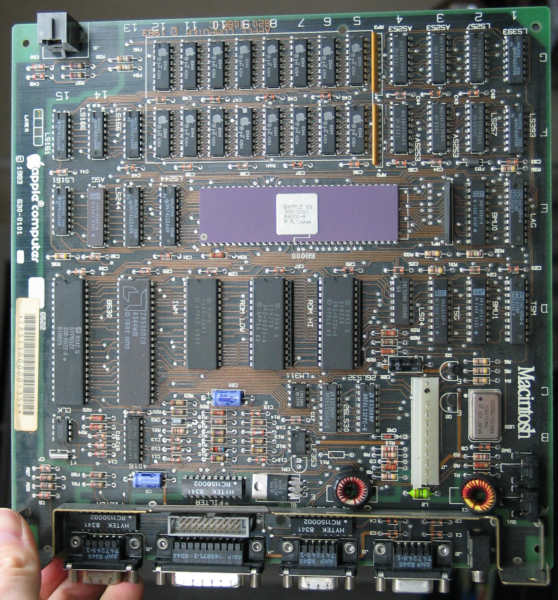 Early Mac 128k Logic Board Photo (Top)