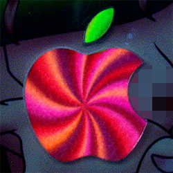 The lit Apple logo