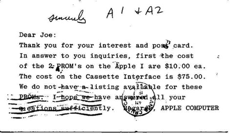 Apple I parts postcard