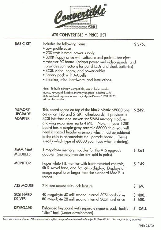 ATS Convertible - Pricelist