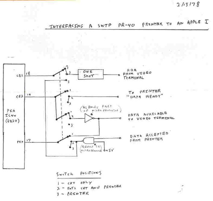 Apple I - printer interface schematic 2