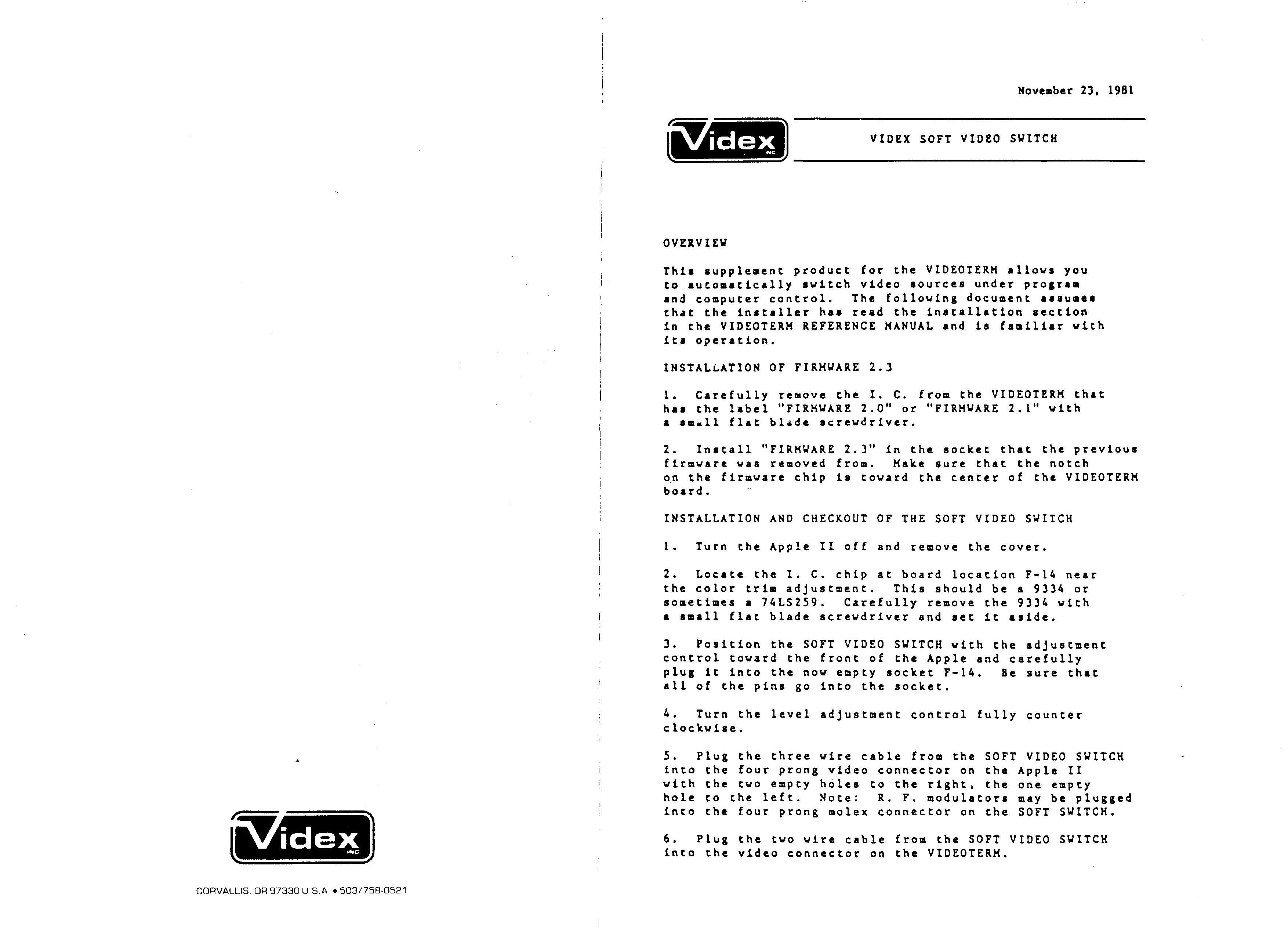 Videx SoftSwitch pg 1