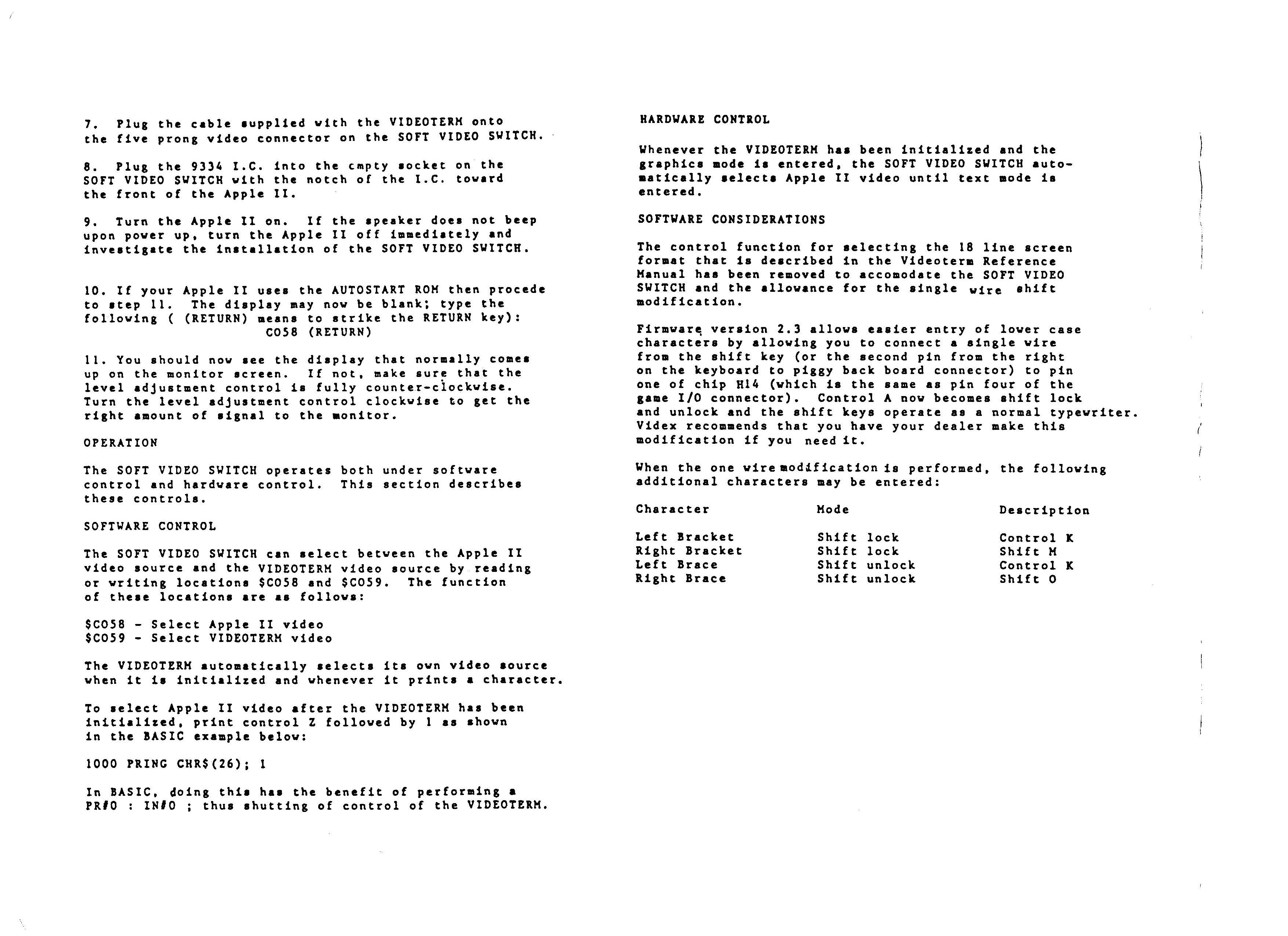 Videx SoftSwitch pg 2,3