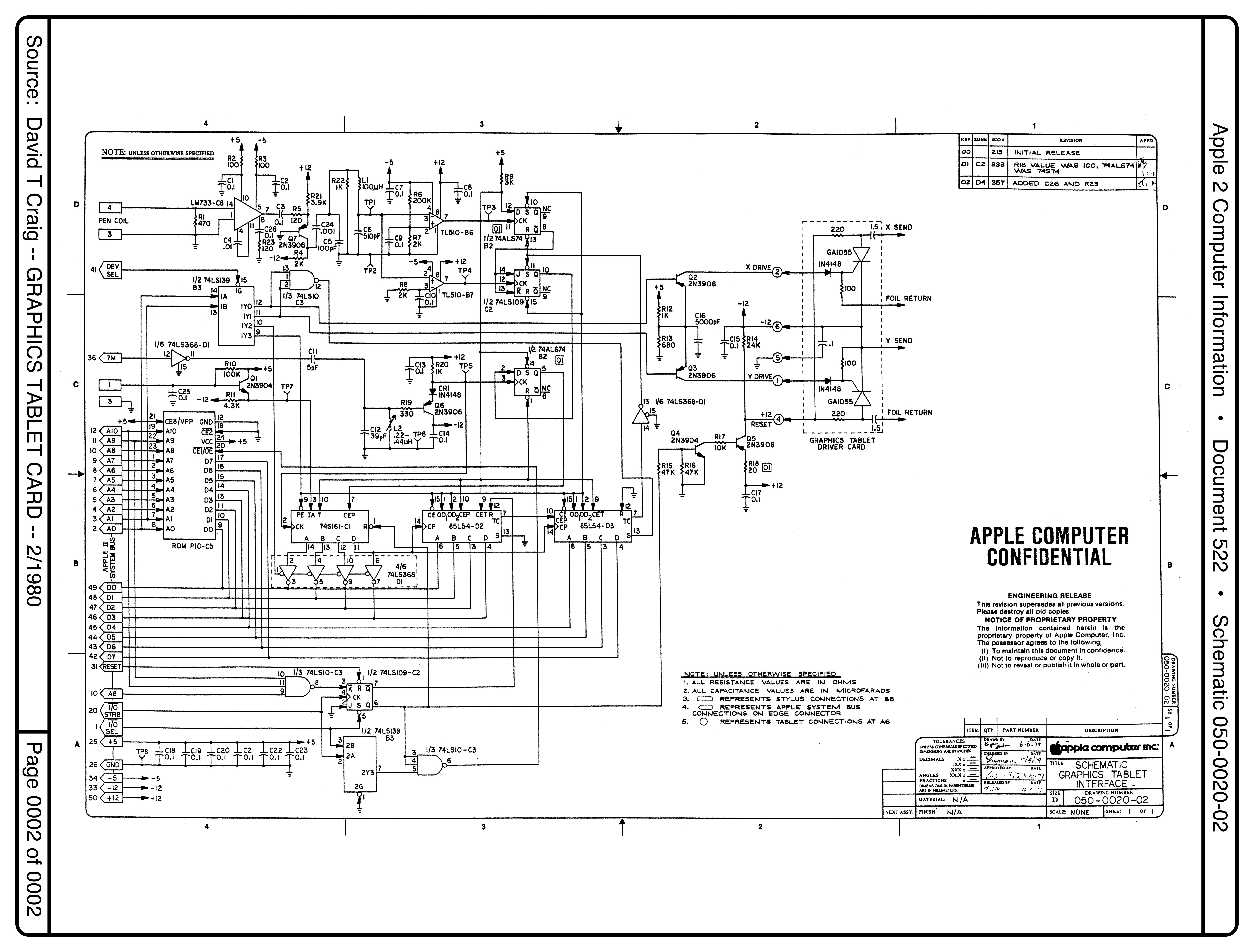 Apple Graphics Tablet Interface Card Schematic