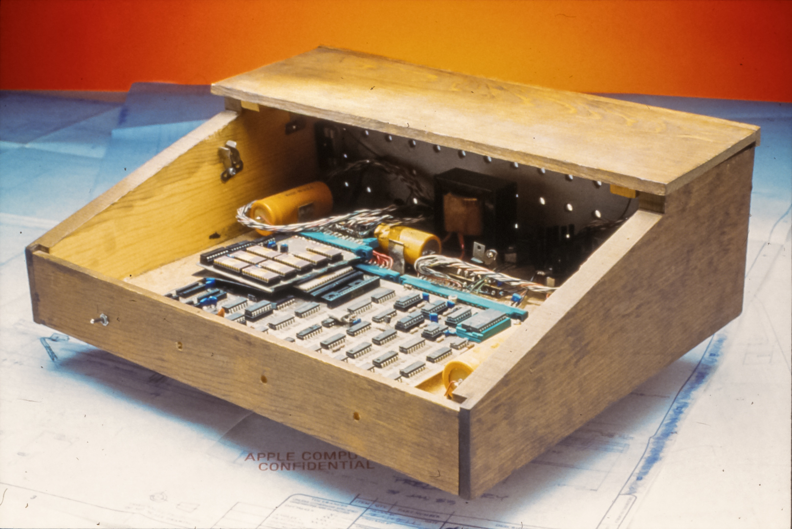 Fully assembled Apple-1 computer prototype in wooden case