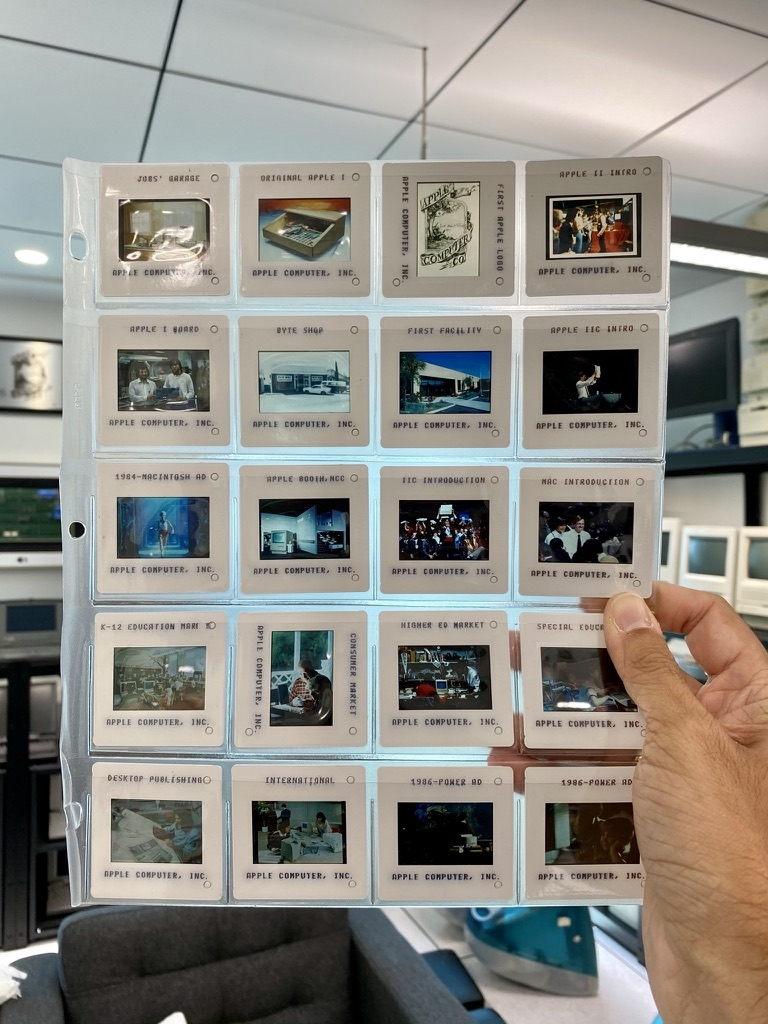 Historic Apple marketing 35mm slides with photos of Apple's early years