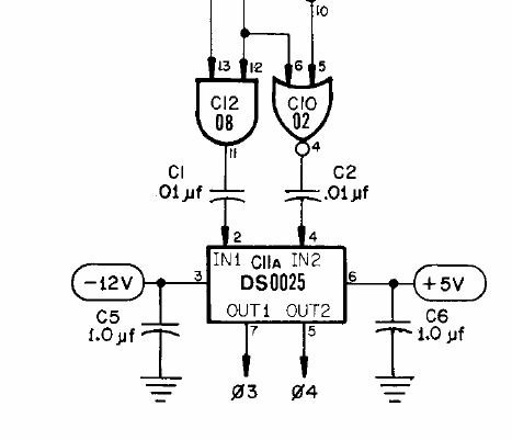 Part of original Apple-1 schematic showing 1.0uF bypass capacitors