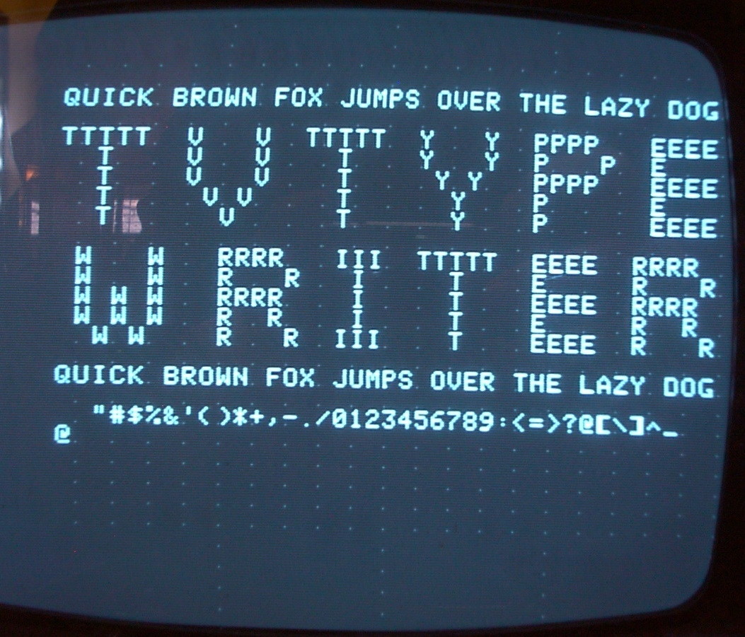 "Output of Tool #3, TV Typewriter. This ""ASCII-Art"" was tedious to enter !"