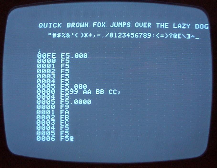 Output of Tool #4, the hexadecimal monitor program.