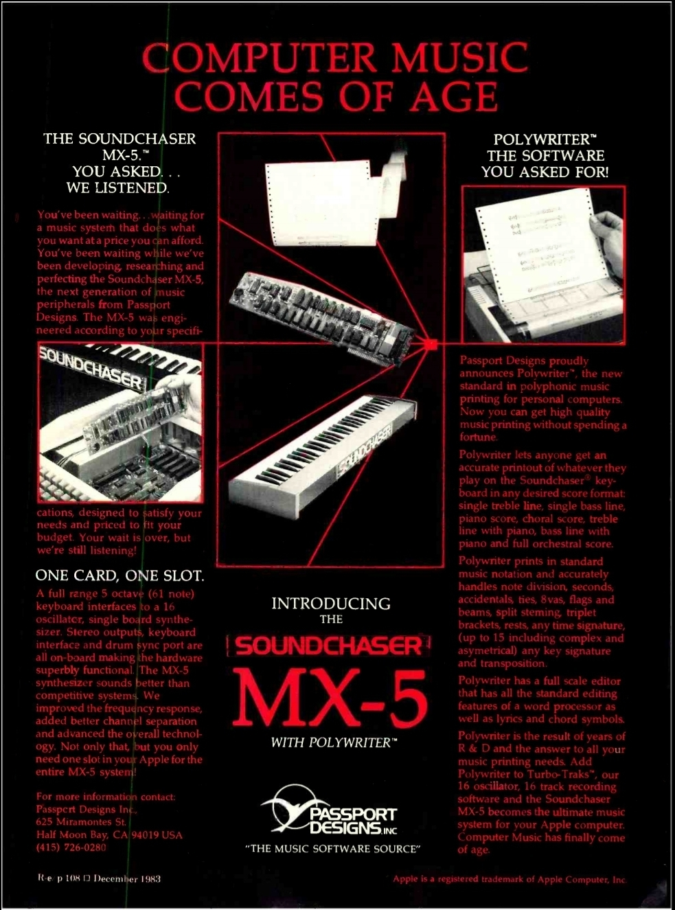 A print ad for the passport designs MX-5, the successor to the original soundchaser.