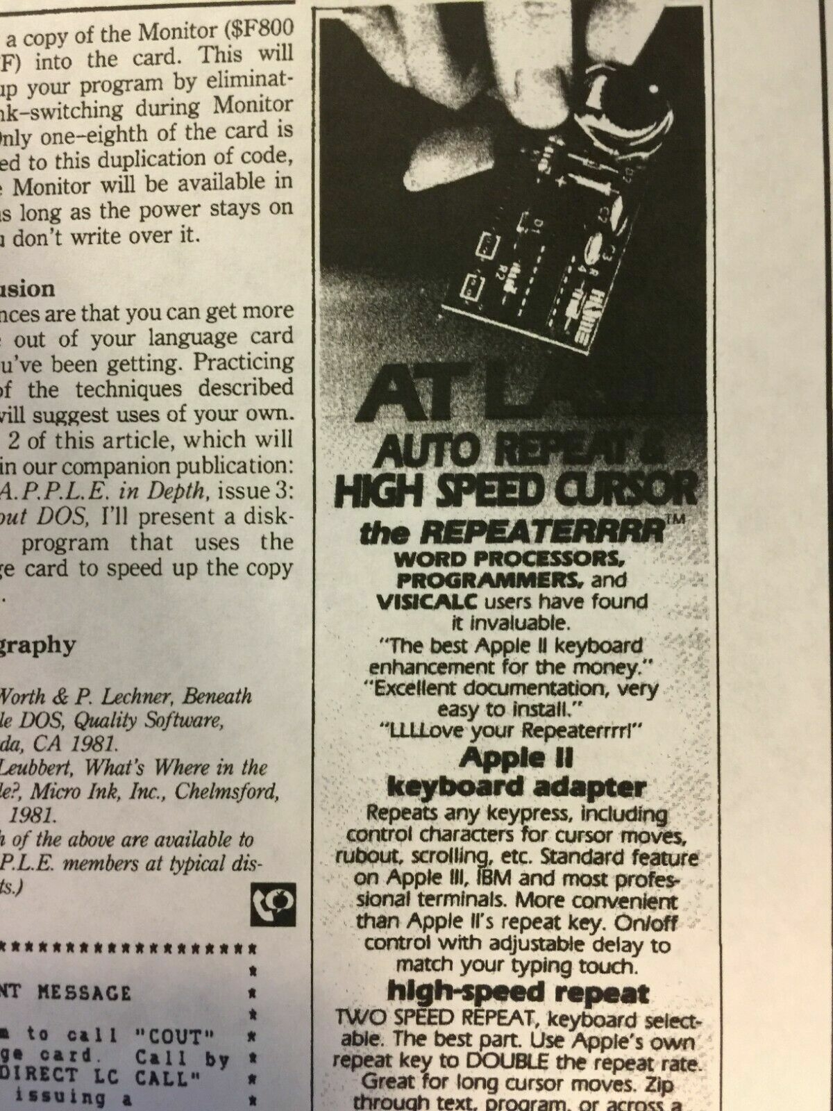 First half of magazine ad for REPEATERRRR