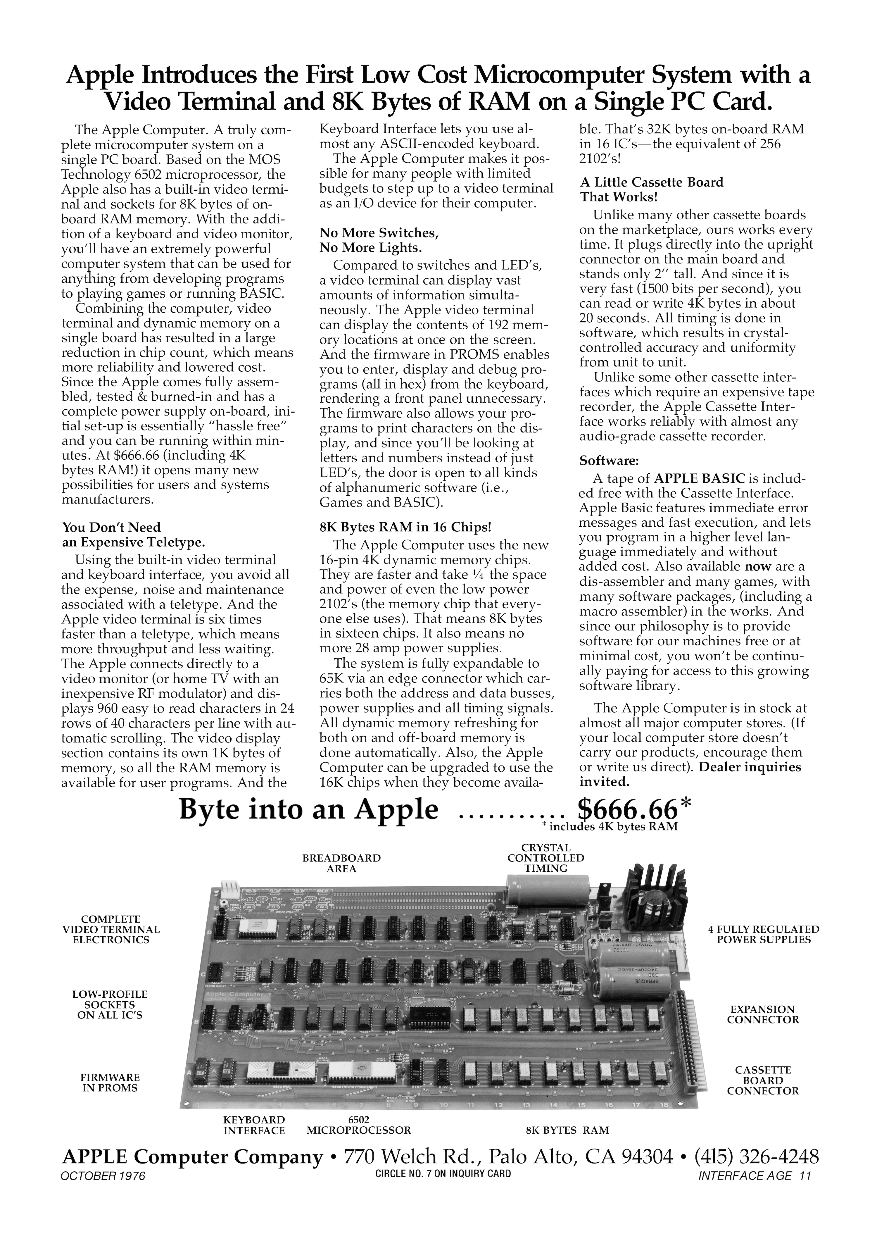 Re-Designed Apple-1 Advertisement published in 1976