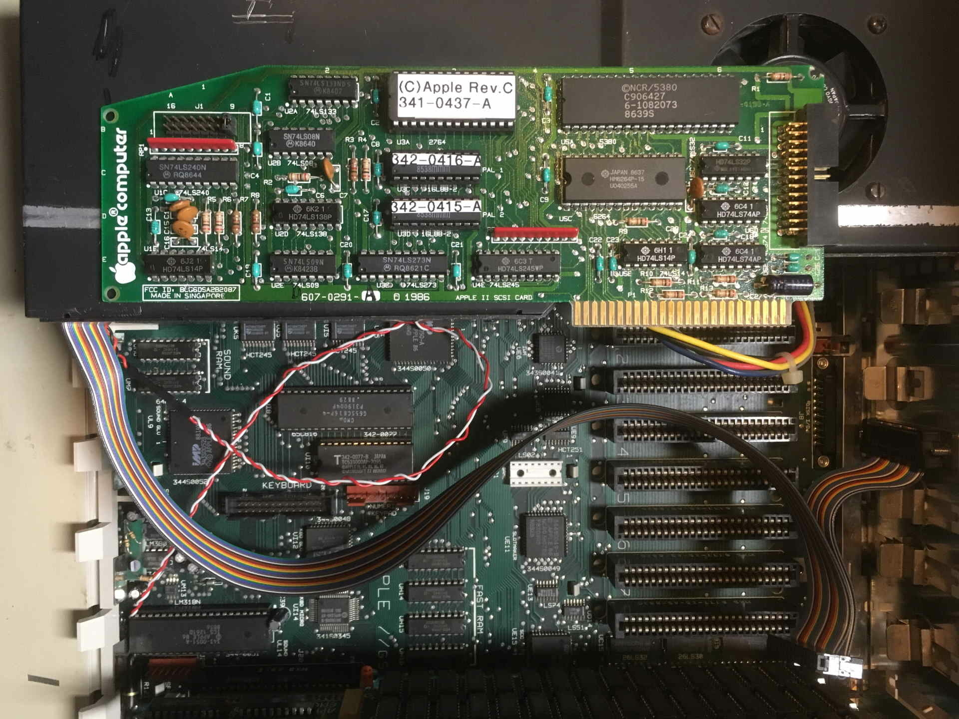 Apple ][ Rev. C SCSI card with Vulcan PSU adapted to hold a SCSI drive