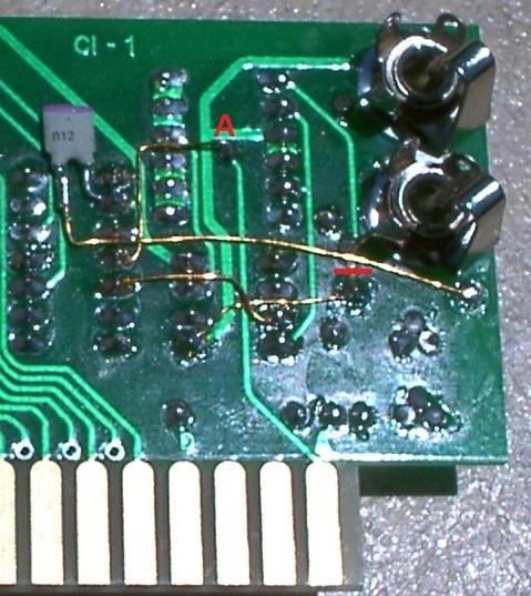 Volume LED mod: solder side of ACI card