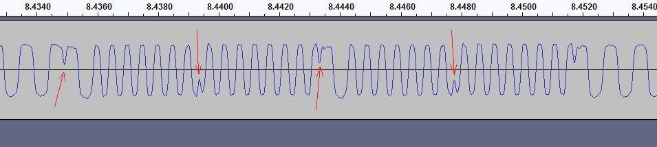 Glitches in ACI TAPE OUT signal