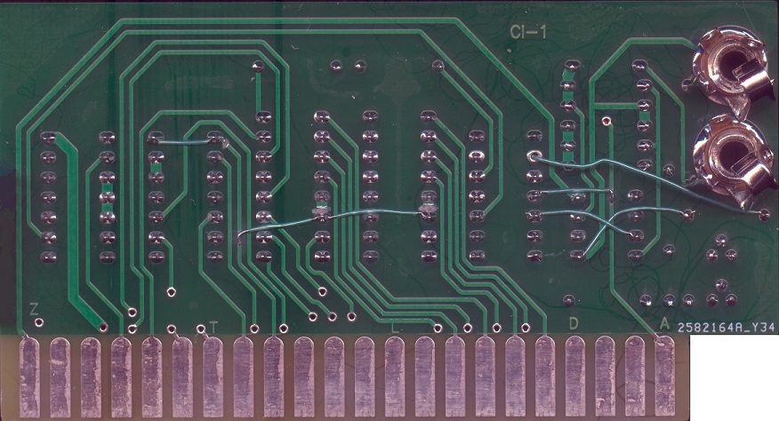 Modified ACI solder side view (with added wires)