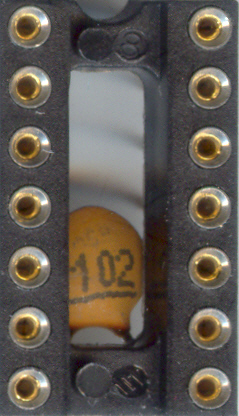 IC socket with hidden capacitor