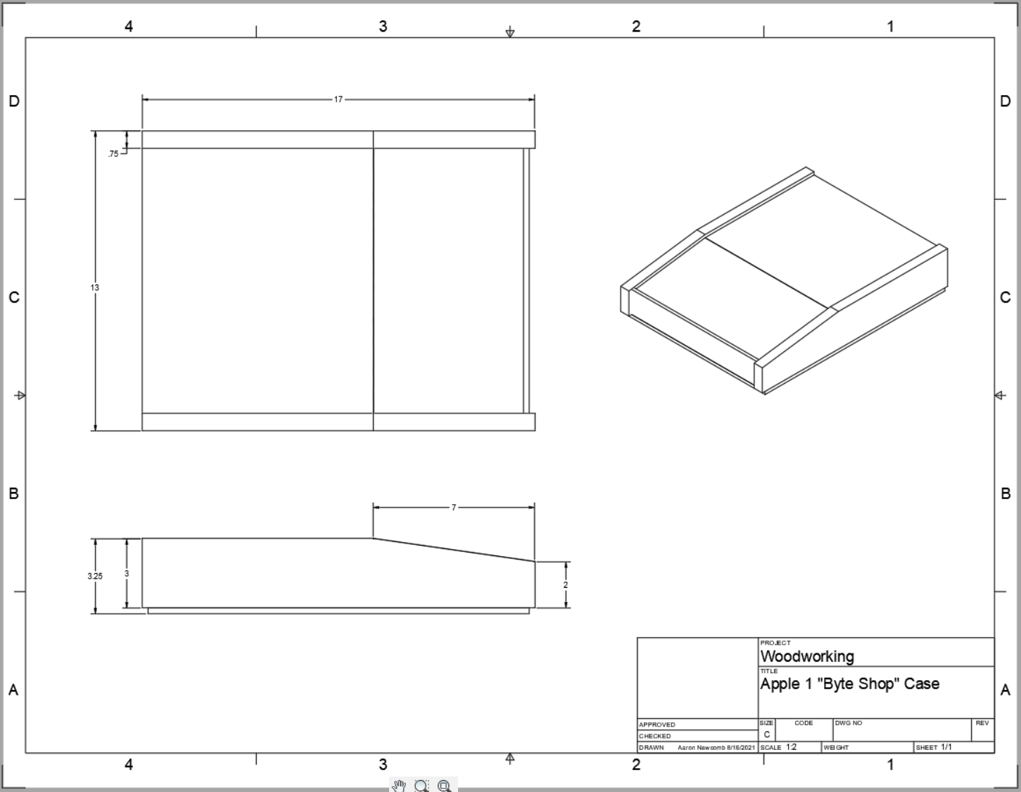 Apple 1 Case Drawing